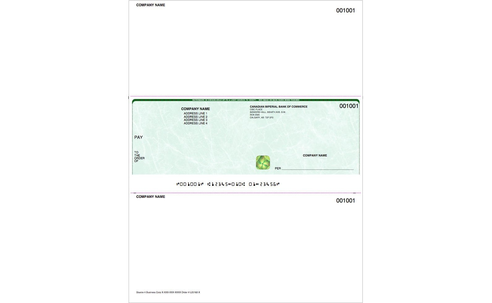 Middle laser cheque with hologram gold foil