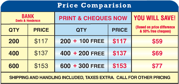 price comparison of manual cheques from different suppliers