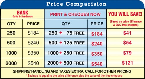 price comparison of how much you'll save with cheques now